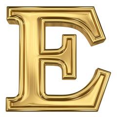 3d brushed golden letter - E. Isolated on white.