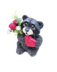 Felted raccoon with heart