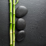 zen stones and bamboo with dew - 61327430