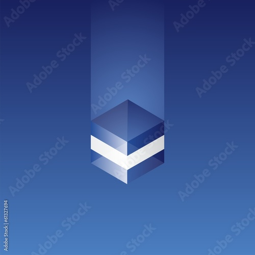 Greece cube flag blue background vector
