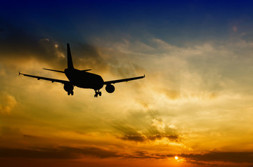 Beautiful view of silhouette of airplane