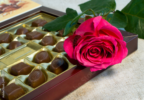 canvas print picture pink rose and box of candy