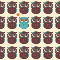 Cute colorful seamless pattern with owl and trees