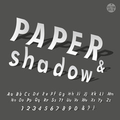 The alphabet with paper and shadow font set design, vector