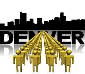 Lines of people with Denver skyline illustration