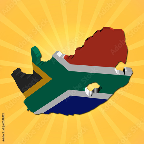 South Africa map flag on sunburst illustration