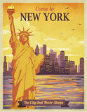 Travel to New York Poster, Vintage
