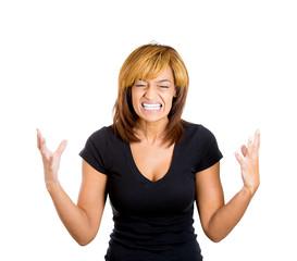 Upsed screaming business woman, employee, worker