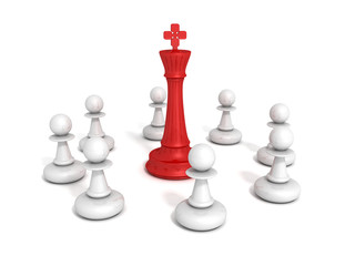 red chess leader king with pawns team group