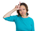 Annoyed old woman showing loser sign