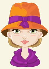 donna con cappellino arancio-winter clothes