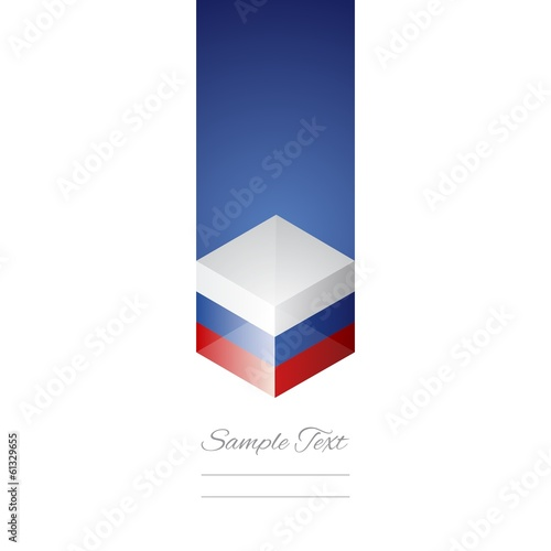 Russia cube flag white background vector