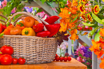 Vegetables and flowers