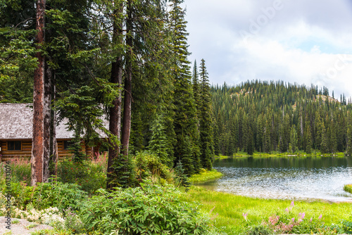 Foto op Canvas Canada Log Cabin in Pine Forest by Lake