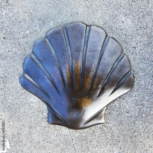 Shell simbol of the camino de Santiago in Bizkaia, Basque Countr