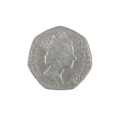 British fifty pence coin obverse