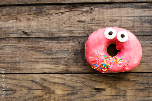 Spoed canvasdoek 2cm dik Snoepjes Cute donut on a breakfast