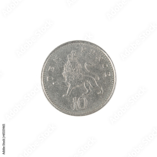 British ten pence coin reverse