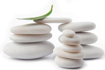 white stone pebble zen isolated on white