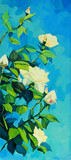 bush of white roses, painting by oil on canvas,  illustration