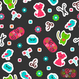 Funny childish seamless pattern with cute animals