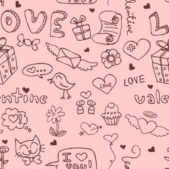 Romantic seamless pattern with doodles