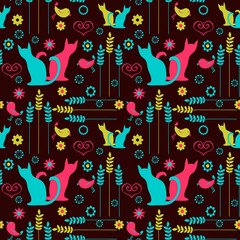 Cute seamless pattern with colorful silhouettes