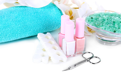Pedicure set isolated on white