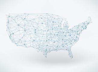 Abstract telecommunication USA map