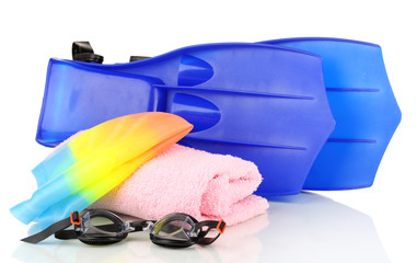 Pool cap, goggles, flippers and towel isolated on white