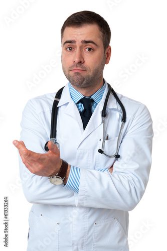Doctor male with raised hand to camera