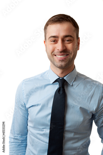 Happy smiling mature business male in blue shirt tie on white ba