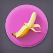 Banana, long shadow vector icon