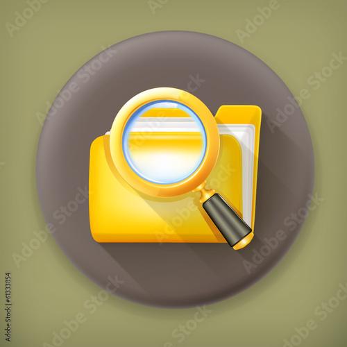 Search folder, long shadow vector icon