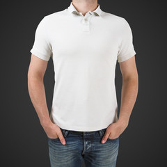 man in white polo t-shirt