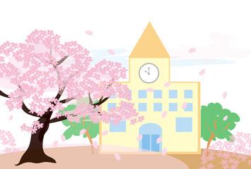 桜の木と学校の校舎の春のイラスト