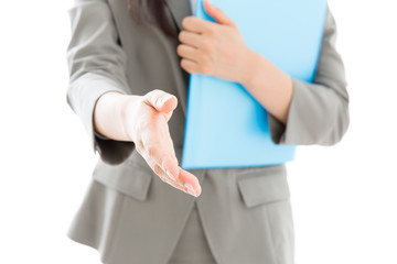 young asian businesswoman shaking hands