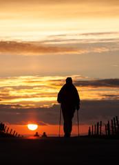 nordic walking in sunset