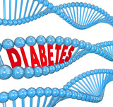 Diabetes Word DNA Strand Hereditary Blood Disease Biology