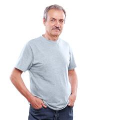 confident senior man isolated on white