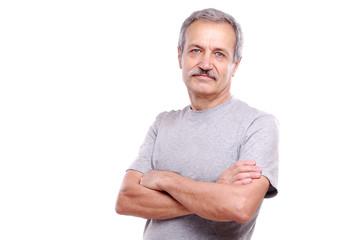 Closeup portrait of a smiling active senior man
