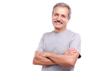 Closeup portrait of a smiling active senior man