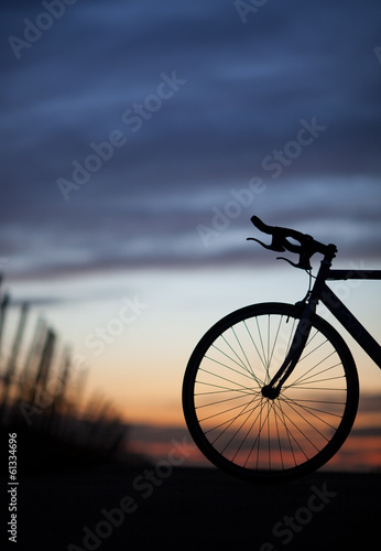 silhouette of race bike in sunset