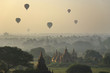 Temples of Bagan with hot air balloon. Myanmar (Burma).