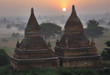Temples of Bagan in early morning with Sun. Myanmar (Burma).