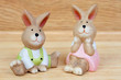 Easter time. Funny ceramic rabbits