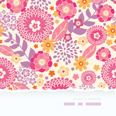 Vector warm summer plants frame horizontal torn seamless pattern