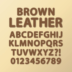 Abstract Rounded Brown Leather Font and Numbers, Eps 10 Vector