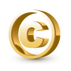 golden glossy copyright symbol
