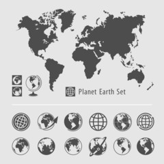 Planet earth symbol set